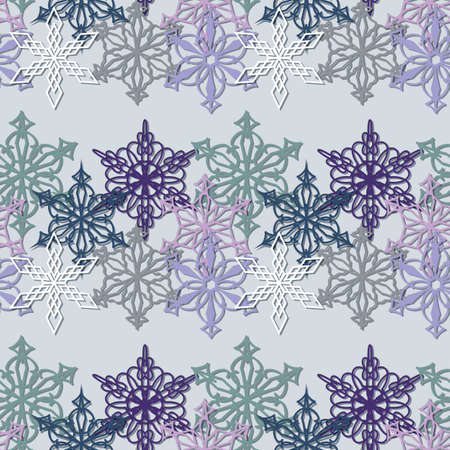 Christmas, New Year Seamless Pattern Of Multicolored Snowflakes Illusztráció