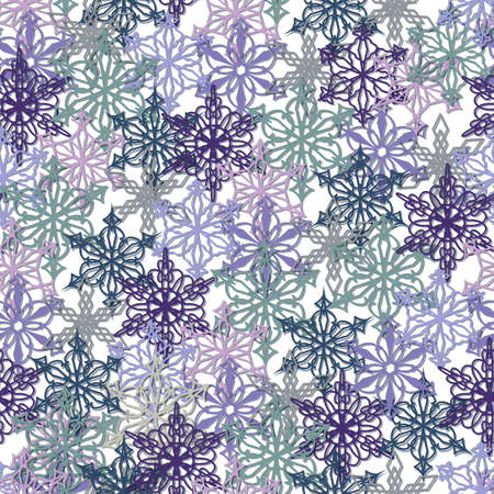 Christmas, New Year Seamless Pattern Of Multicolored Snowflakes Stock fotó