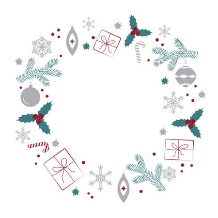 A Wreath With Christmas Elements On A White Background