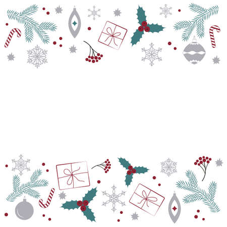A Template With Christmas Elements On A White Background