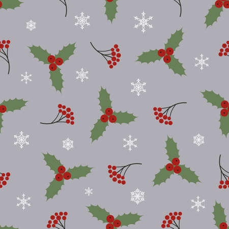 Seamless Christmas Pattern With Fir Ranches And Berries Illusztráció