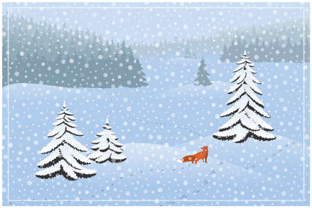 Winter landscape. Spruce forest and Fox hunting
