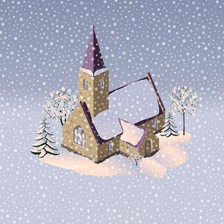 Cozy winter church illustration. Winter landscape.