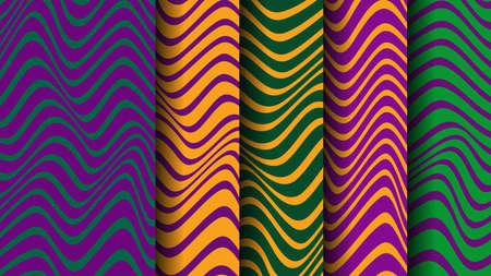Vector Background with Mardi Gras stripes. Undulating Pattern Illusztráció