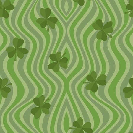 Clover leaf seamless pattern vector illustration. Symbol of St. Patrick s Day, Irish happy shamrock background.