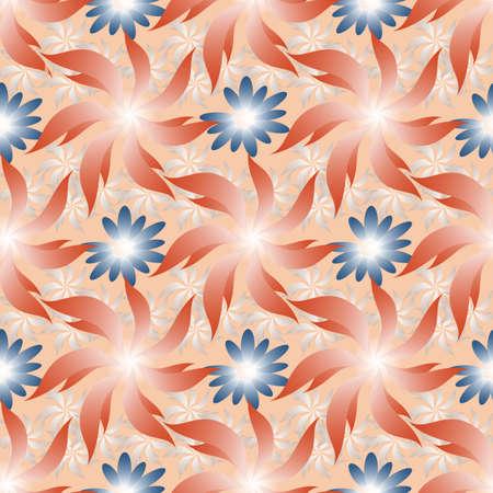 Seamless pattern with abstract flowers on pink background. Illusztráció