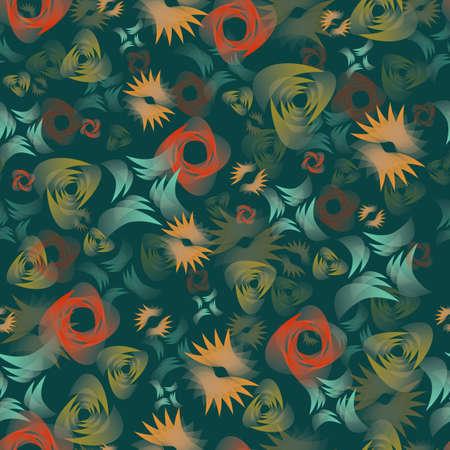 Seamless pattern with abstract shapes on a green background. Illusztráció