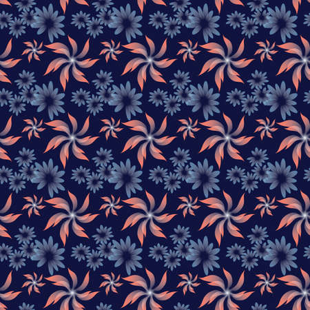 Seamless pattern with abstract flowers on blue background.