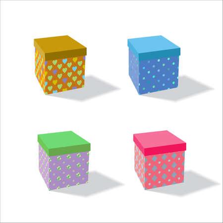 Set of colorful gift boxes. Isometric image. Illusztráció