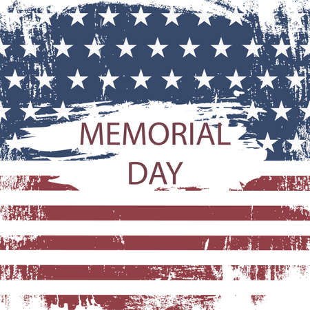 American Grunge Flag For Memorial Day. Vector Illustration Illusztráció
