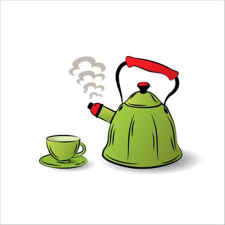 The teapot and cup icon. Tea symbol. Flat Vector illustration Illusztráció