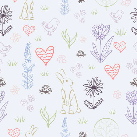 Seamless vector pattern with cute forest hare, bird and flowers.