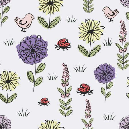 Seamless children s pattern with fabulous flowers, bird and ladybug Illusztráció