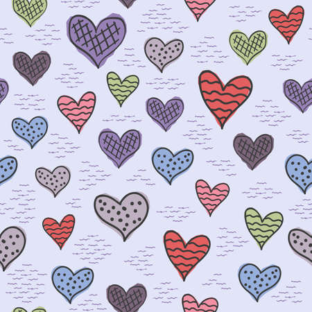 Seamless patterns with hand-drawn hearts. Background with hearts in the Scandinavian style Illusztráció