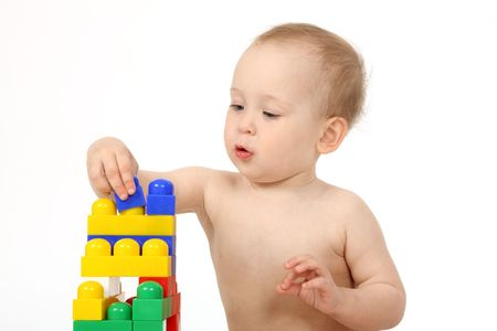 The small child plays the designer a white background photo