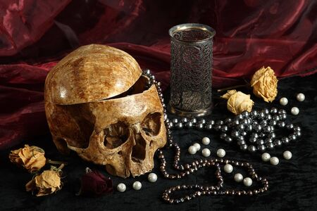 Skull of the person on a black background with pearls and dry colours Stock Photo
