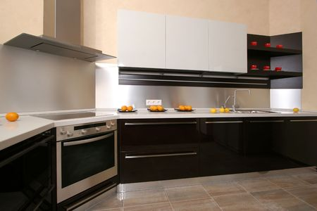 home improvements: Modern kitchen with the built in home appliances