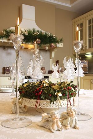 candle light table setting: The table decorated to Christmas