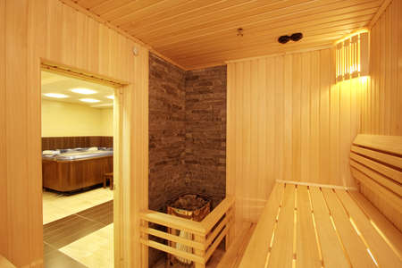 The sauna finished with a tree Stock Photo