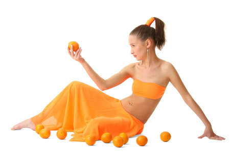 The girl in an orange dress with oranges photo