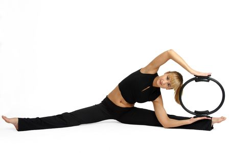 The girl, the instructor shows different exercises Stock Photo - 5215777
