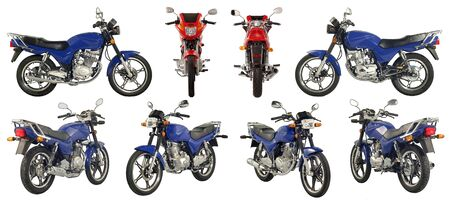 Collection of photos of scooters and motorcycles on a white background. Some images from different foreshortenings in one file.