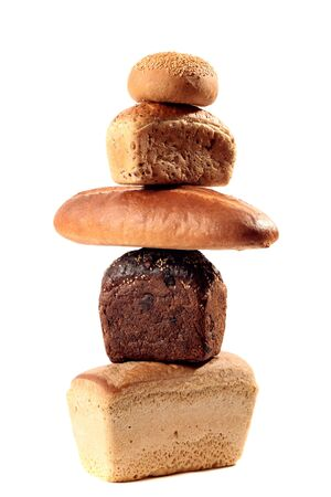 A lot of different bread on a white background