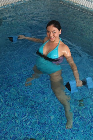 Employment with pregnant women in small pool Stock Photo - 7564950