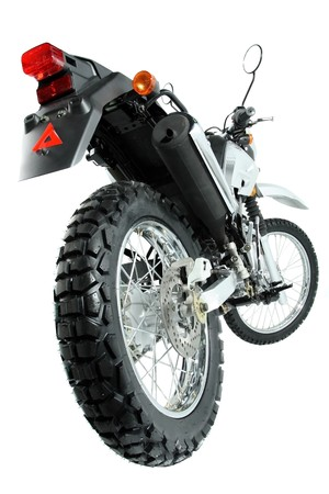 avocation: The rear view on a wheel of a sports motorcycle