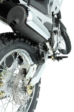 The rear view on a wheel of a sports motorcycle