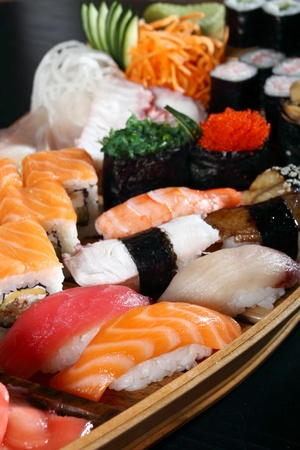 Japanese cuisine from rice and seafood in the big assortment photo