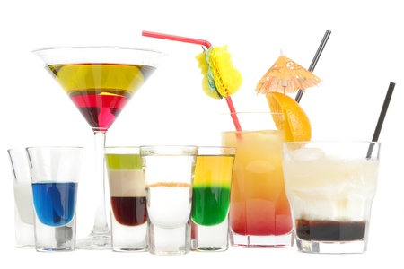 Some multi-colored puff cocktails on a white background