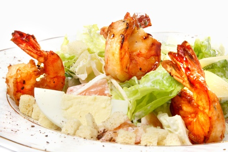 Salad from tomatoes, cheese, crackers, leaves of salad, cheese and egg Stock Photo - 9323074