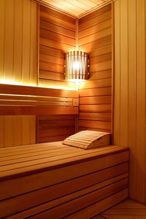 finished: The smart sauna finished with a natural tree Stock Photo