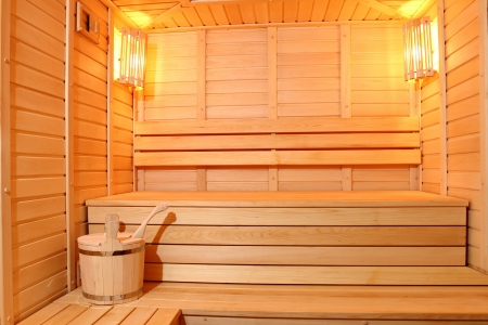 The smart sauna finished with a natural tree Stock Photo