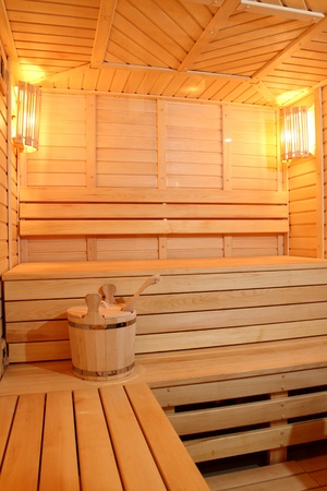 steam bath: The smart sauna finished with a natural tree Stock Photo