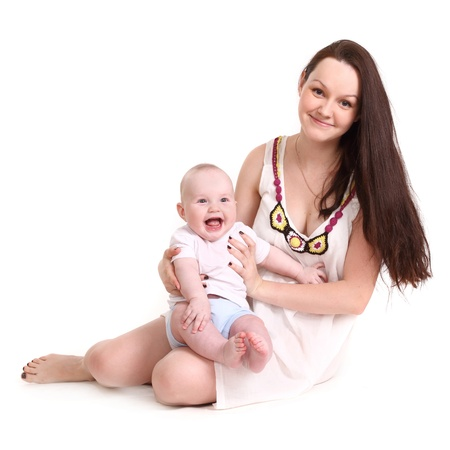 babie: Young mum and the small son, portrait on a white background close up, the kid sits at mum in a lap, mum holds the kid, a format square