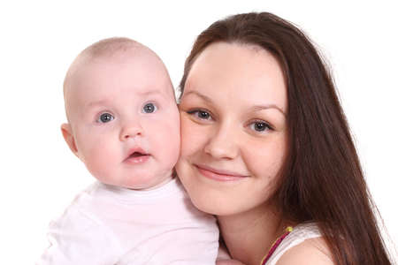 babie: Young mum and the small son, portrait on a white background close up