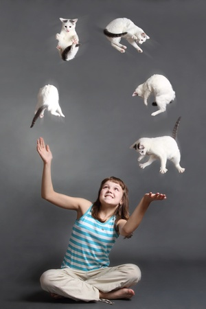 the girl with scratch on a cheek juggles with white cats Stock Photo