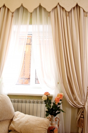 the windows decorated with curtains with a machine embroidery, double 13 photo