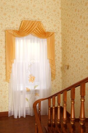 the windows decorated with curtains with a machine embroidery, double 11 Stock Photo - 13472026