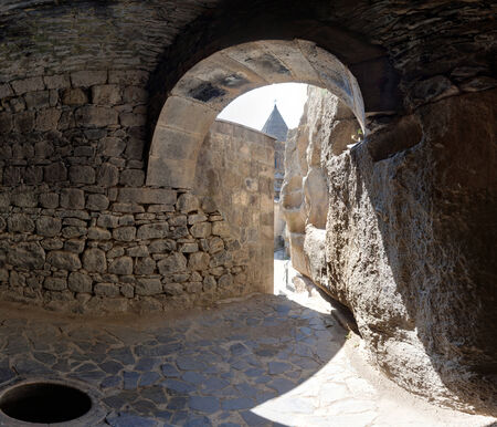geghard: View from a grotto in the ancient Armenian temple complex Geghard Stock Photo