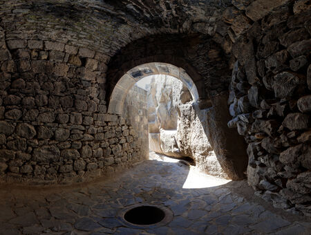 geghard: View from a grotto in the ancient Armenian temple complex Geghard Editorial