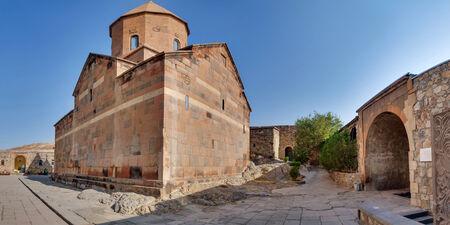 chorus: The Chorus temple Hor Virap in the mountains of Armenia Stock Photo