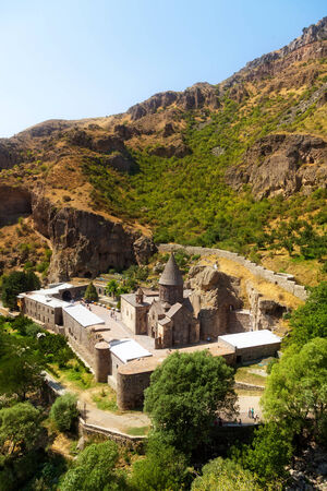 geghard: The top view on the ancient Armenian Geghard temple complex
