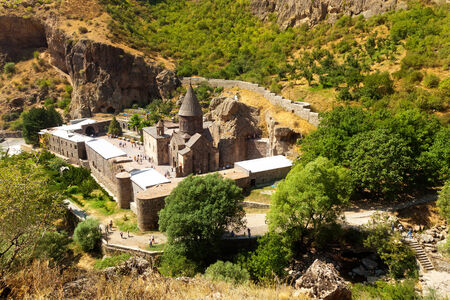 tatev: The top view on the ancient Armenian Geghard temple complex