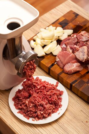 forcemeat: The electric meat grinder, forcemeat, onions and the cut meat on a chopping board