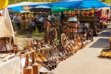 Merchandise in a flea market in the city of Yerevan