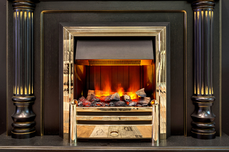 and the magnificent: Magnificent fireplace with the artificial beautiful burning fire