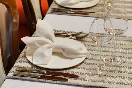 pepperbox: the laid table at restaurant in classical style